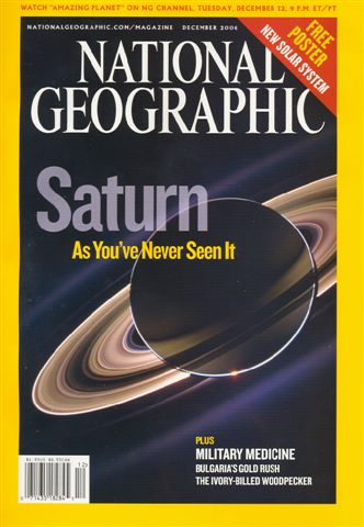 Cover of National Geographic with famous In Saturn's Shadow image from Cassini